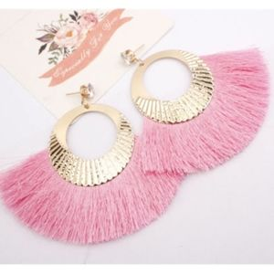Rhinestone stud with gold hoops and pink tassel